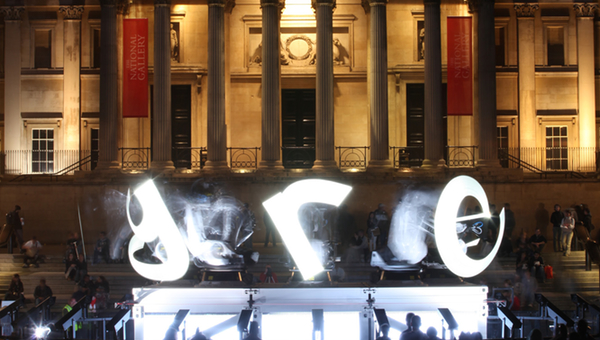 outrace robots projecting into the air in trafalgar square