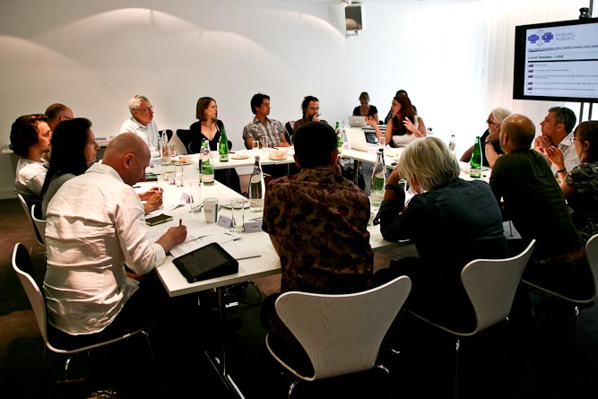 participants at robots and avatars lunch debate at NESTA